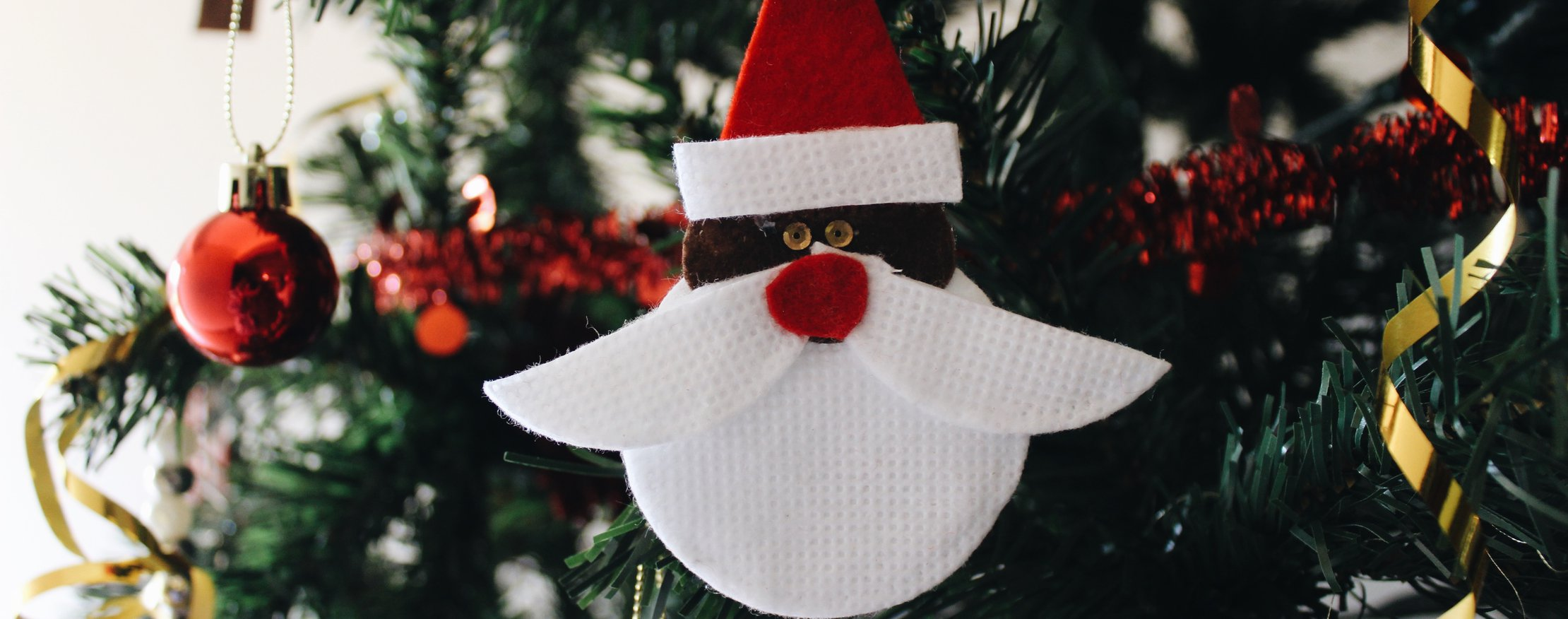 bauble decorated to look like santa
